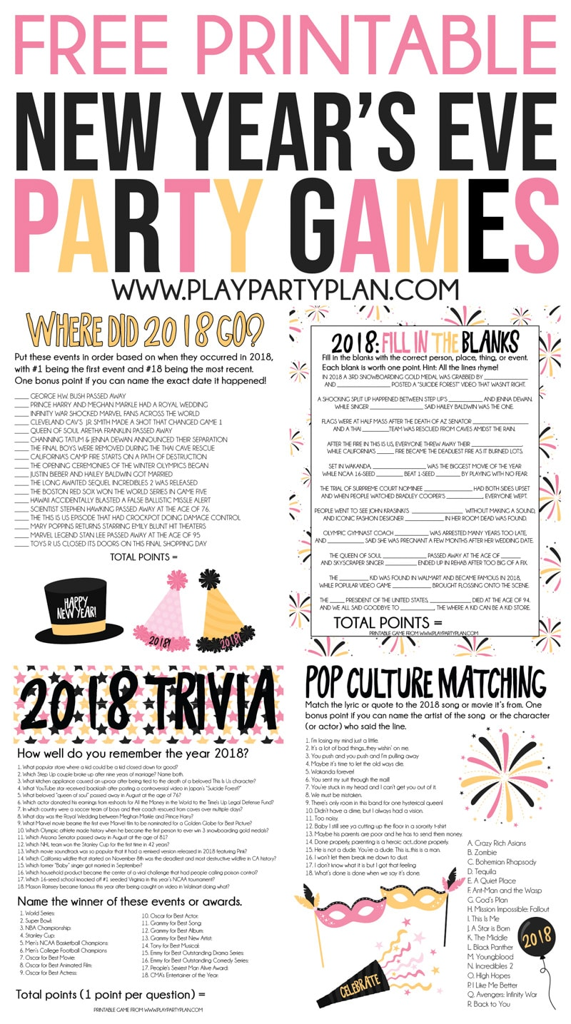 048c3bff4e1 The best New Year s Eve games for adults! Four printable trivia games that  will have