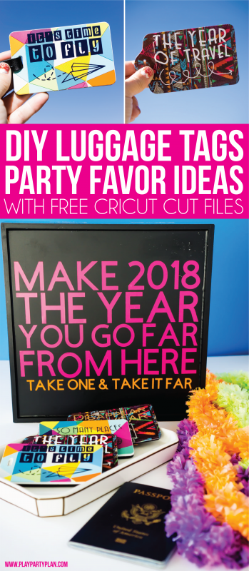 Cute luggage tags to use for New Year's Eve favors