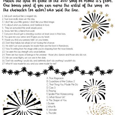 Printable 2017 New Year's Eve Games