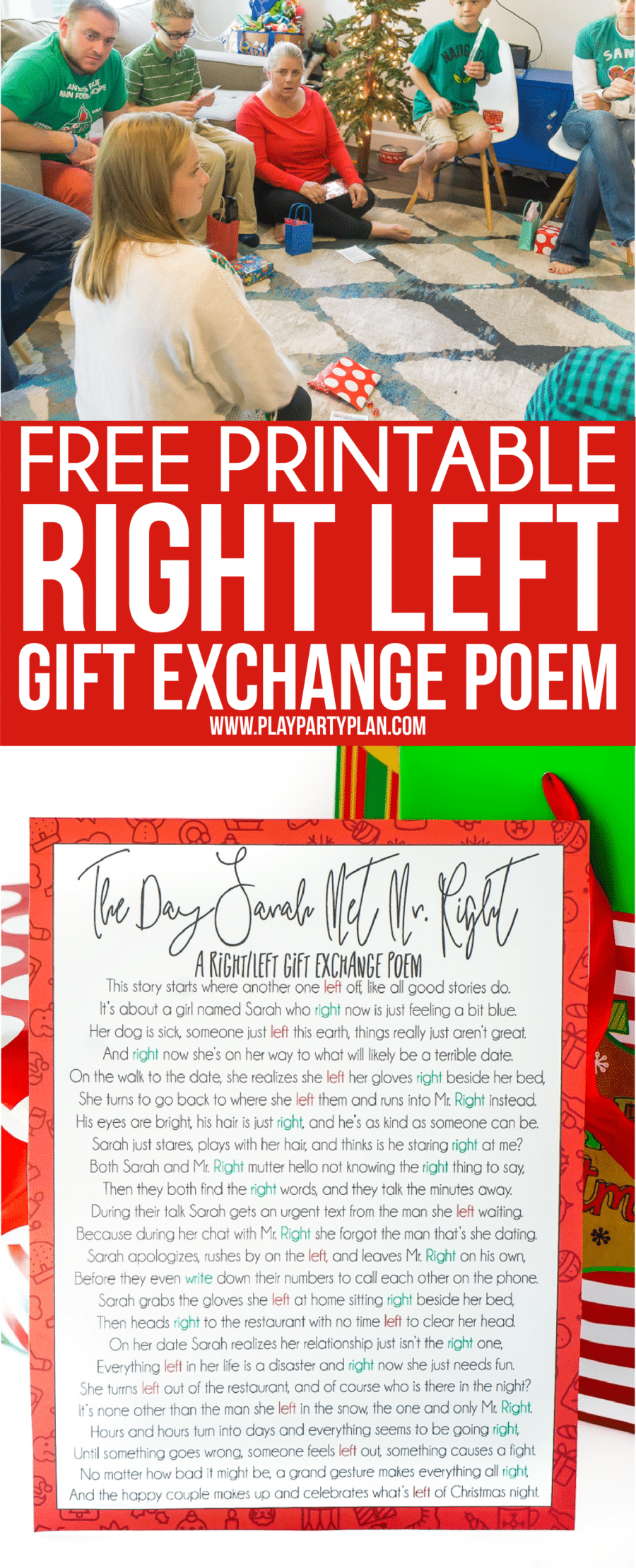 graphic about Christmas Left Right Game Printable called A Hilarious Still left Directly Xmas Poem Present Activity - Enjoy