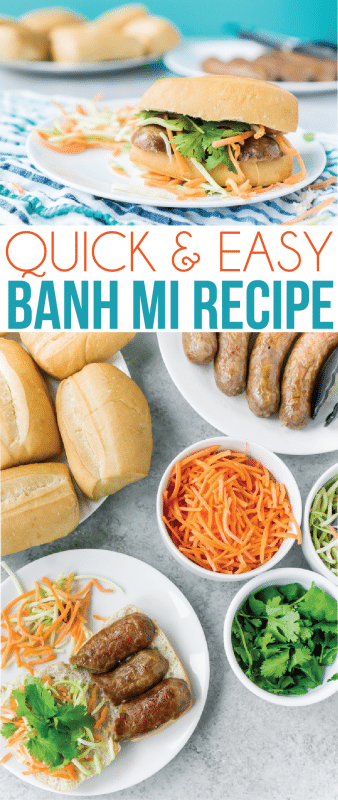 Simple banh mi sandwich recipe with fresh veggies, pork, and mayo