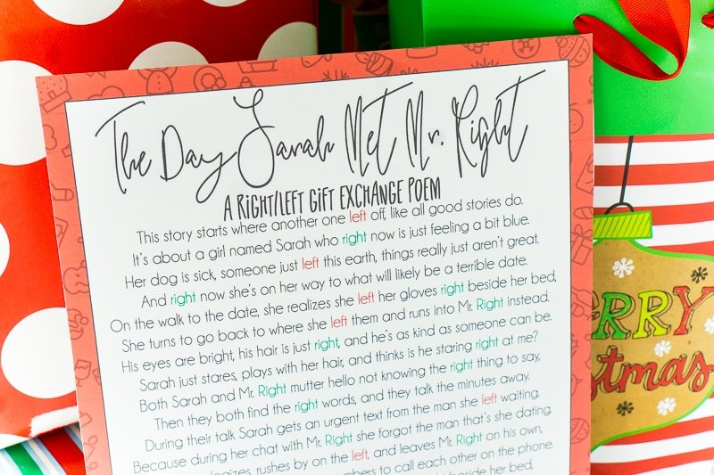 A Hilarious Left Right Christmas Poem Gift Game Play Party Plan
