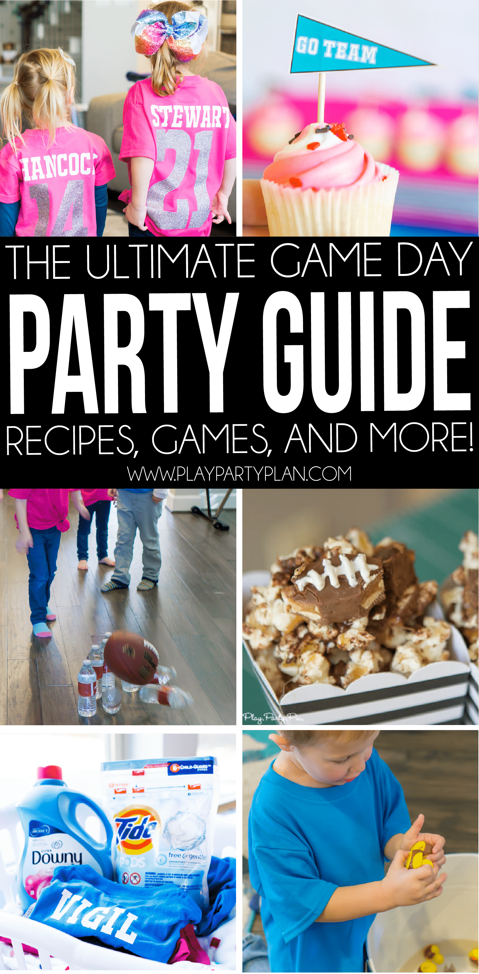 The ultimate Super Bowl party guide - food ideas, decorations, free printables, games, appetizers, desserts, and more! Everything you need for one amazing football party!