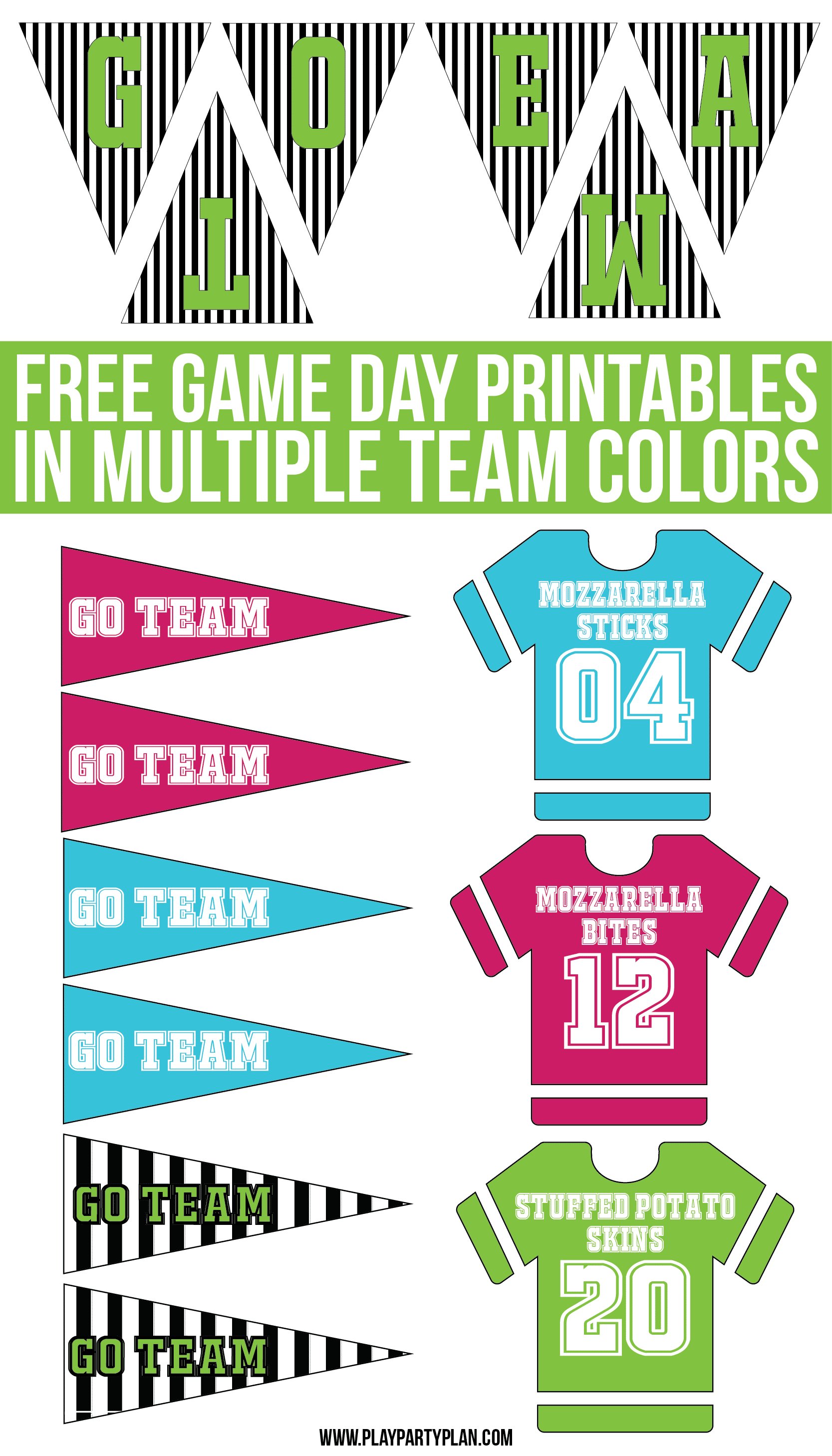 Free game day party printables