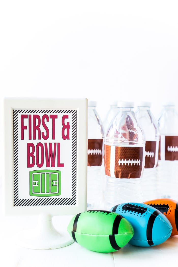 DIY football party games for kids with free printable instruction cards! Definitely six of the best things to do at a football party whether it be Super Bowl or a kids football birthday party!
