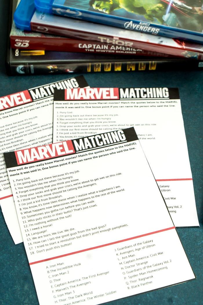 A Free Printable Marvel Movie Quotes Game