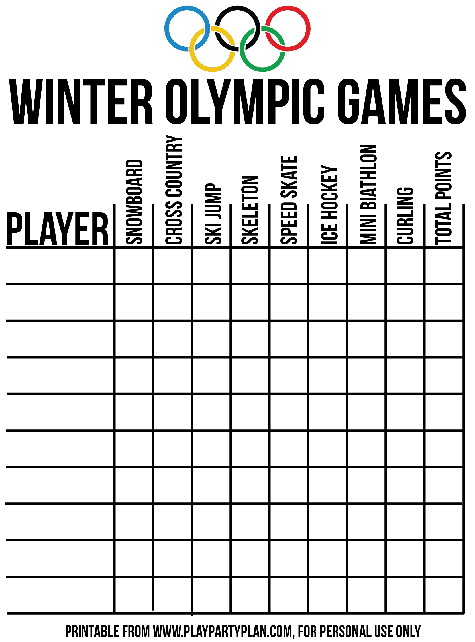 Great Olympic themed party scorecard for games