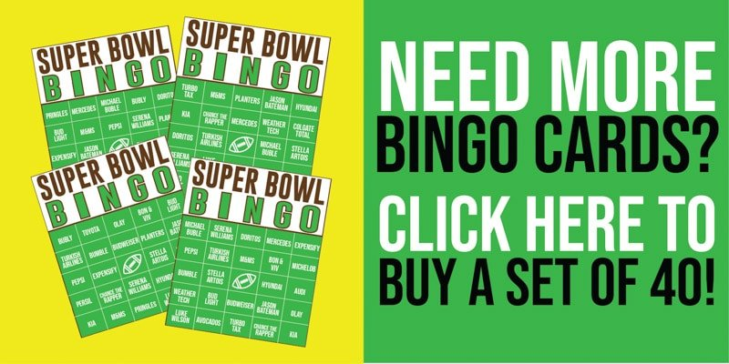 Super Bowl commercial bingo cards