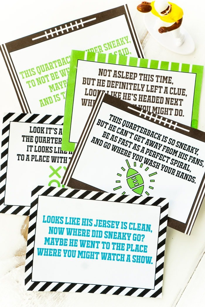 a pile of clues in this football themed scavenger hunt for kids