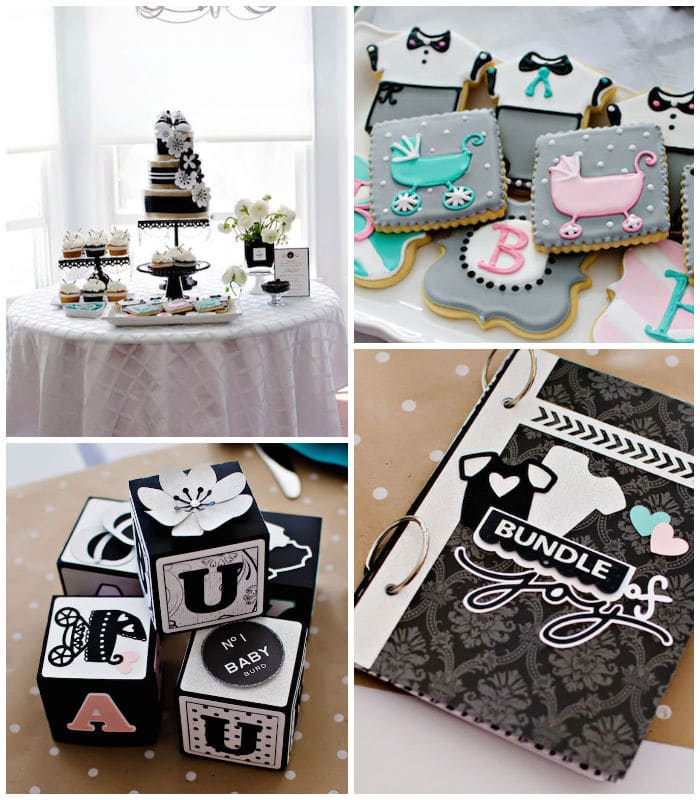 Collage of photos showing off a coco chanel inspired girl baby shower