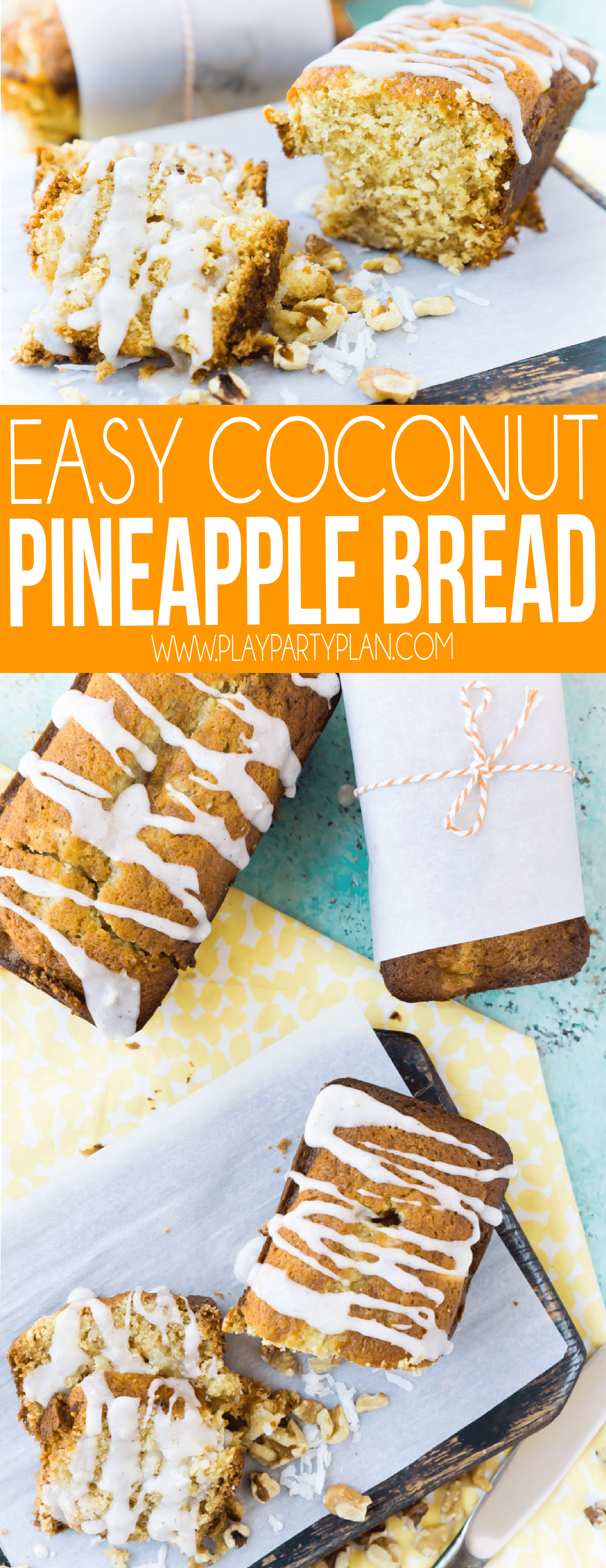 An easy Hawaiian pineapple bread recipe with a healthy twist! It's one of the most moist and delicious coconut pineapple bread recipes you'll ever try!