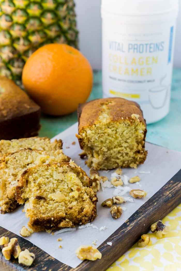 Use Vital Proteins Collagen Creamers to make this pineapple bread