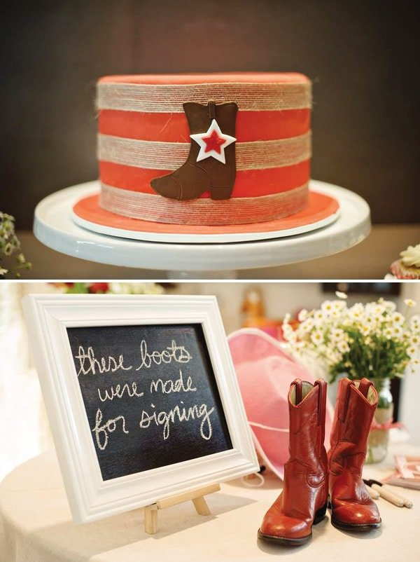 A collage of photos showing a western theme baby shower for a girl