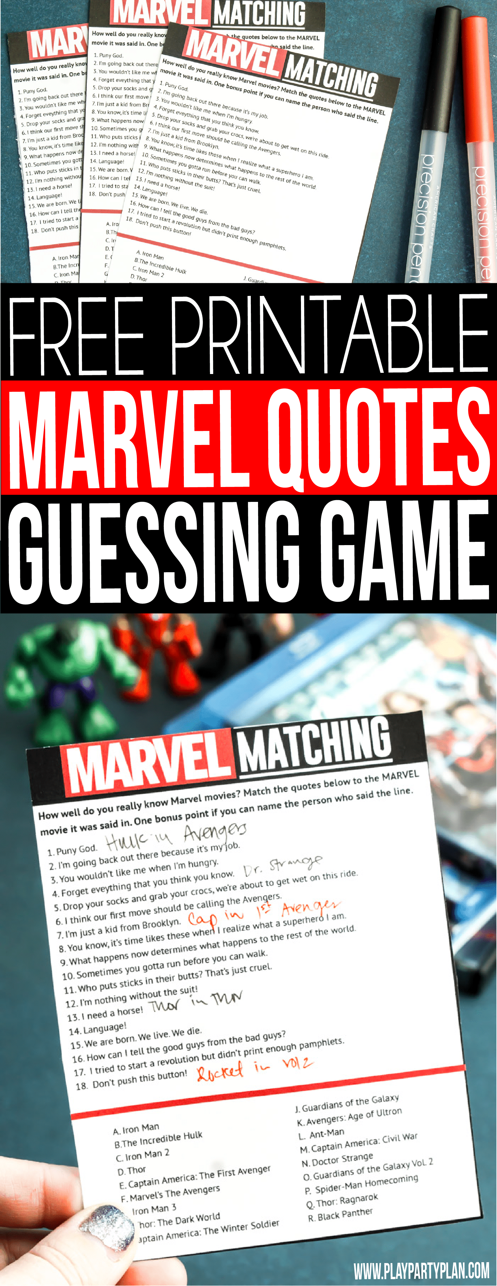 Get ready for Marvel's Avengers Infinity War this May with this fun MARVEL movie quotes game! See if you can guess match quotes with movies and the characters who said them! Everything from funny quotes to the more serious ones from everyone's favorite superheroes!