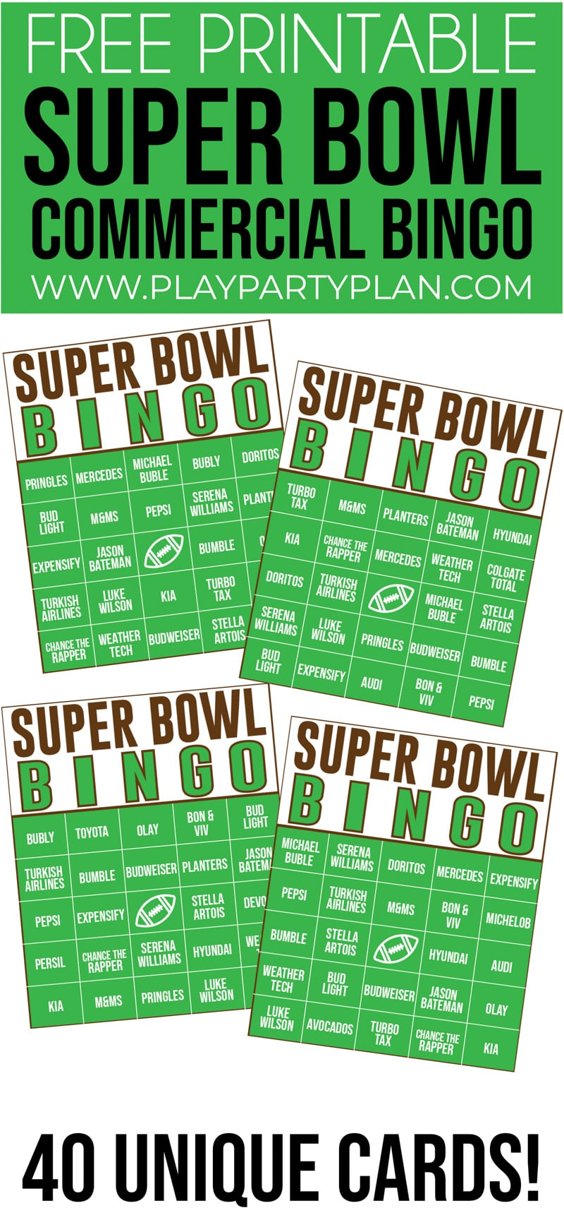 This Super Bowl Commercial bingo is one of the best Super Bowl party games ever! Perfect for for kids or adults!
