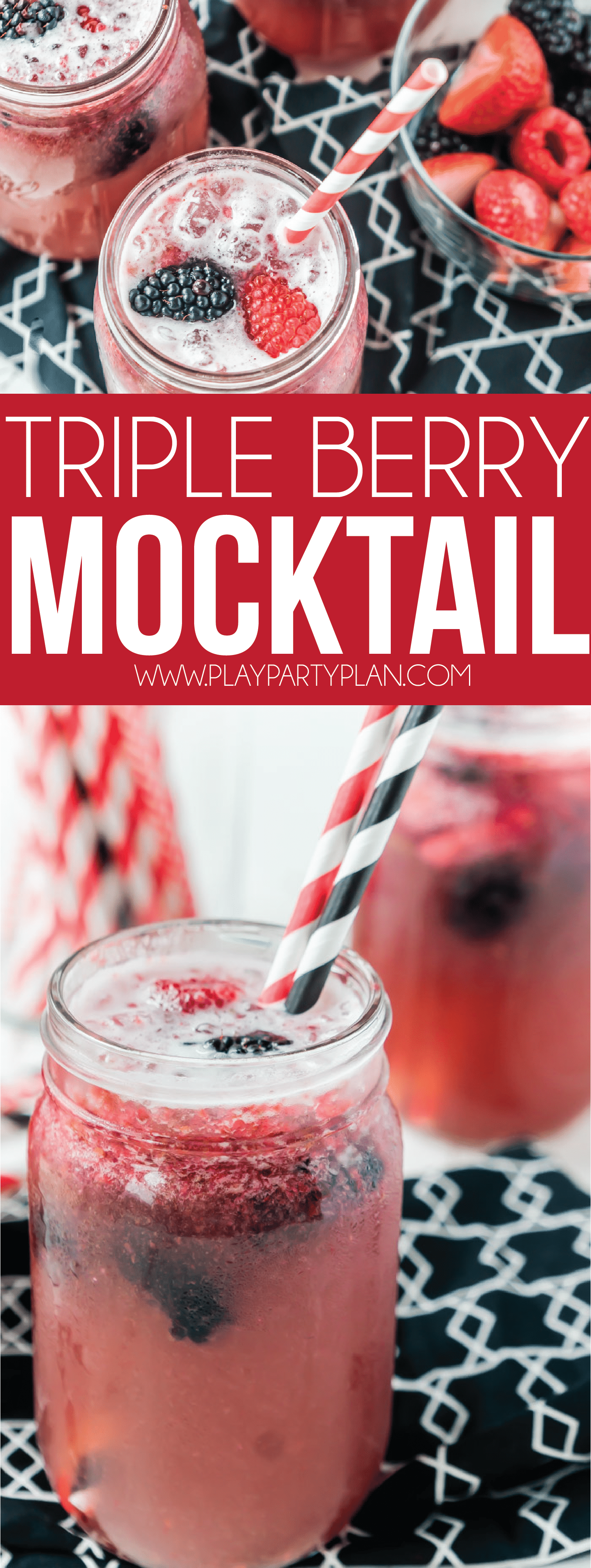 A non alcoholic triple berry mocktail recipe that's perfect for pregnancy, for teens, or for the summer! Easy to make and a delicious recipe for your next party!