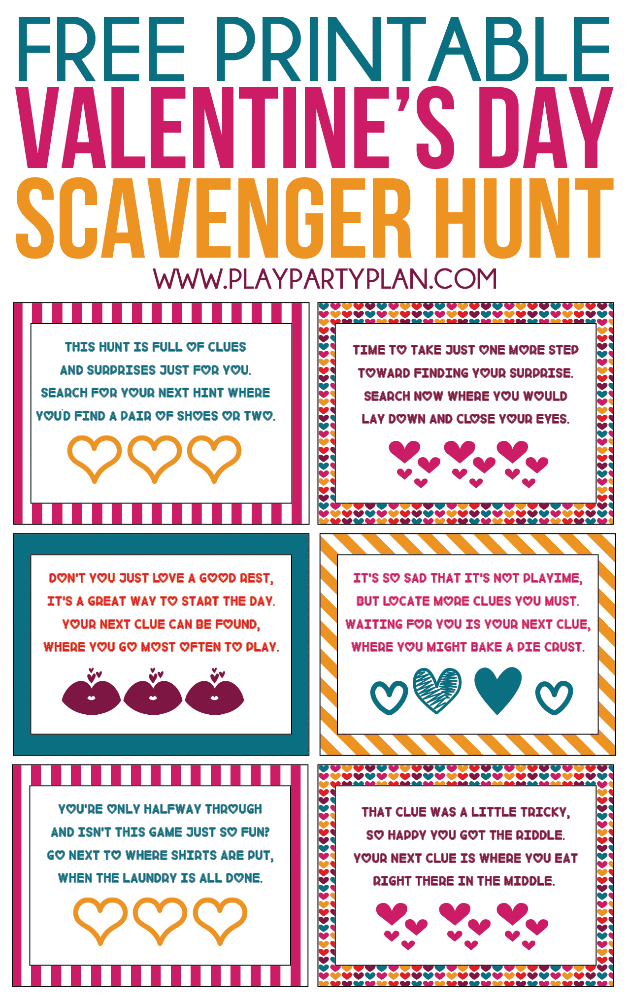 image regarding Clue Cards Printable titled Free of charge Printable Valentines Working day Scavenger Hunt Children Older people