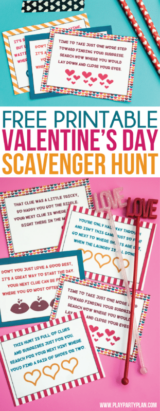 This Valentine's Day scavenger hunt for kids is perfect for activities for kids in preschool or even elementary school! Simply print out the printable cards, hides with treats, or other Valentine's Day surprises, and you have one of the best Valentine's Day games ever! Perfect for a party at home or even just for happy kids!