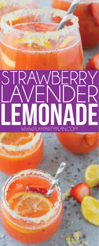 The best strawberry lavender lemonade recipe - great for fans of lavender lemonade or just regular strawberry lemonade! Perfect for baby showers, bridal showers, and any party!