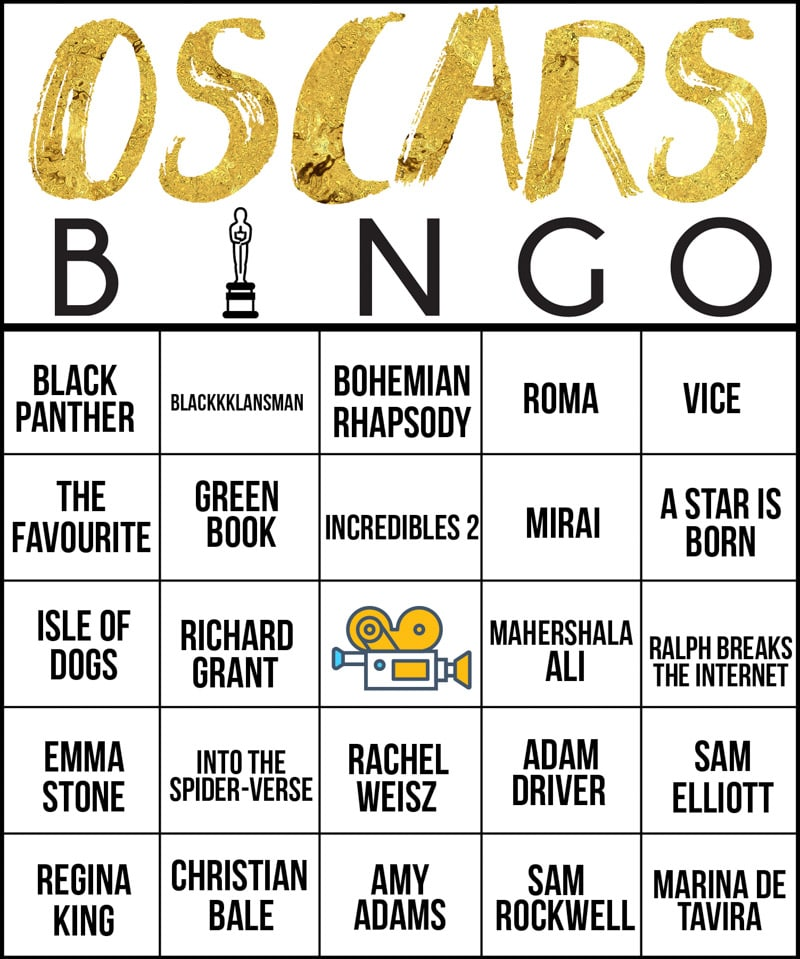 Oscar party bingo makes the best Oscar party ideas