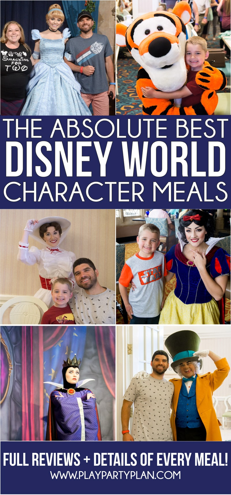 The ultimate guide to Disney World character dining updated for 2019! A list of best places to get breakfast, which resorts have character meals, best for families, and more! And individual reviews of every single Disney character meal! via @playpartyplan
