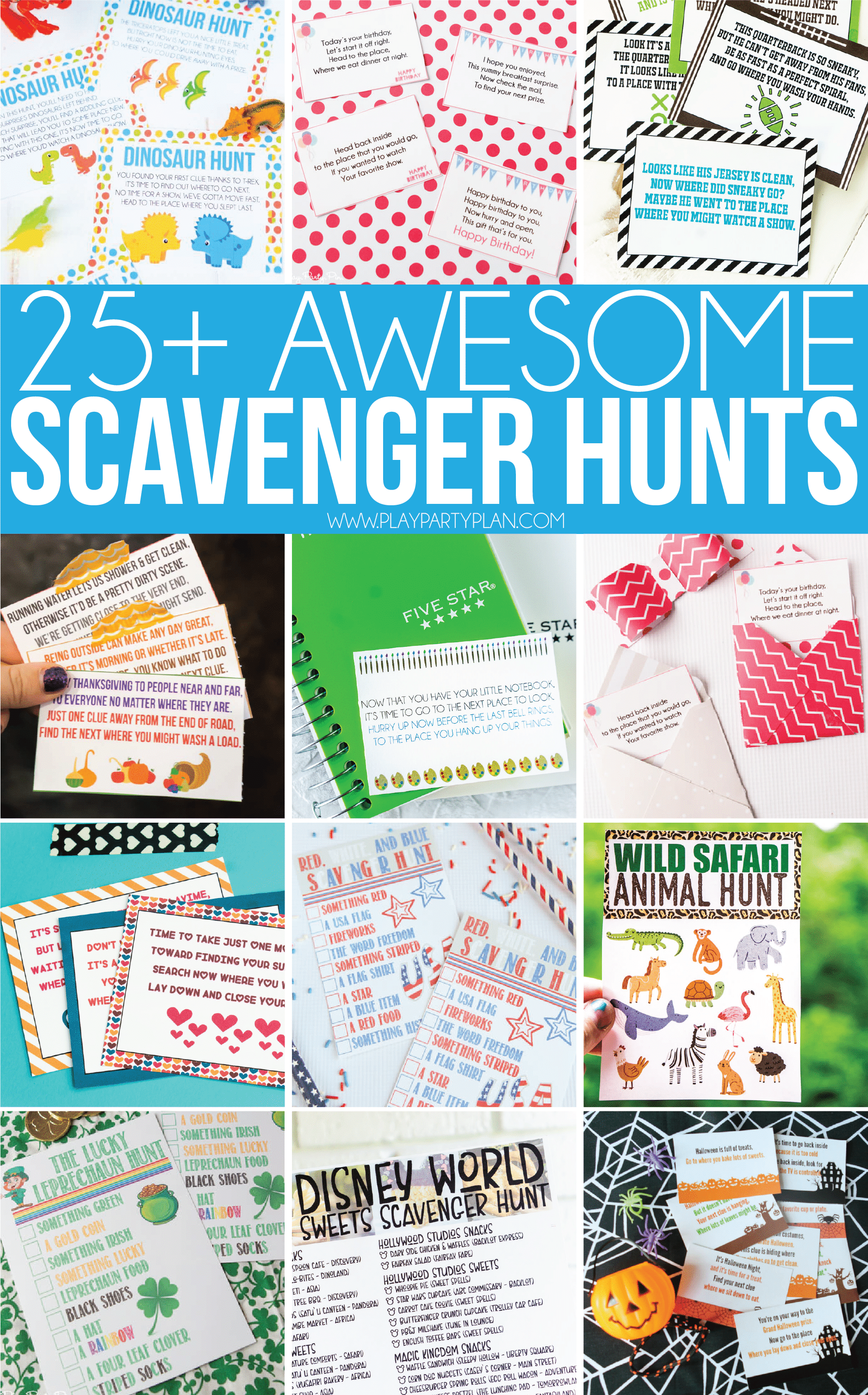 The best scavenger hunt ideas for all ages - for kids, for teens, for adults, and even for preschoolers! There's something for everyone including ideas to do for boyfriend gifts, for husband date nights, or even for family night. Try one at an outdoor birthday party, a family reunion, or Christmas party! So many awesome scavenger hunts with scavenger hunt clues included!