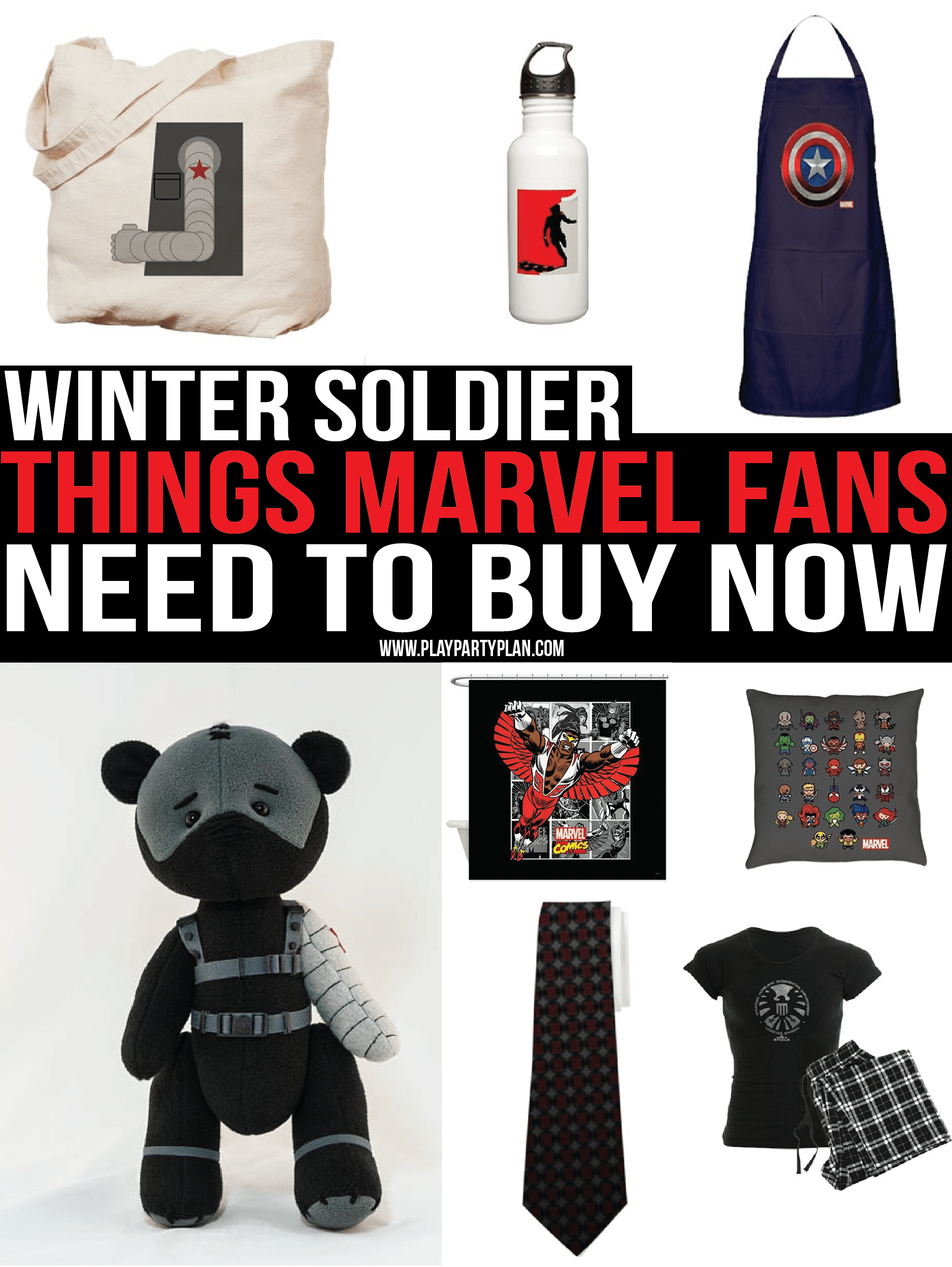 The ultimate list of Winter Soldier gear for any true Marvel fan! Marvel shirts, bags, and more! Perfect for the wait until Infinity War!