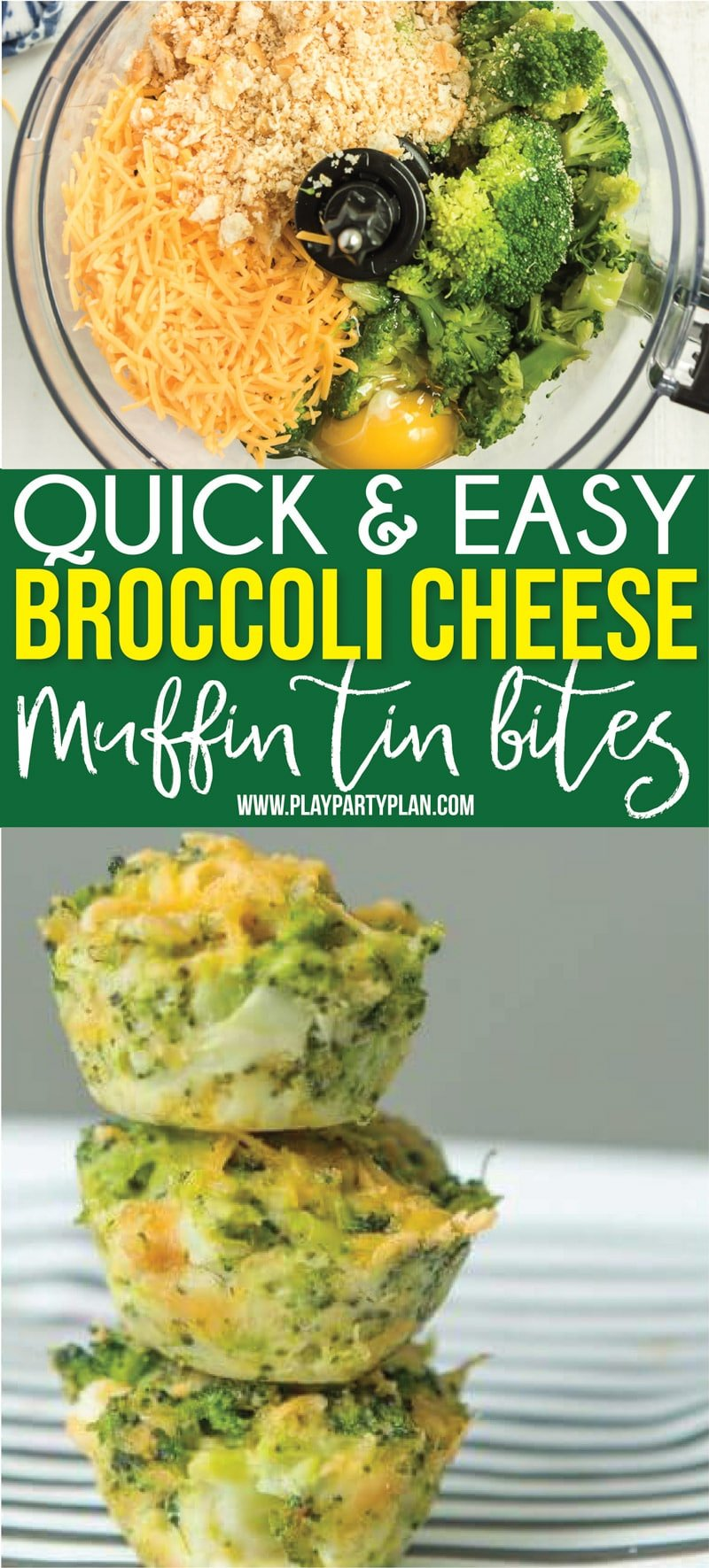 These broccoli cheese bites make the perfect side for dinner or a great healthy comfort food option! Or better yet - serve them as an appetizer at a brunch or baby shower! via @playpartyplan