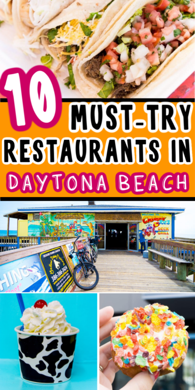 Collage of food from Daytona Beach restaurants for Pinterest