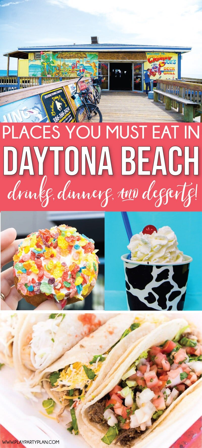 The best restaurants in Daytona Beach Florida! Everything from food on the boardwalk to food near the beach shores!