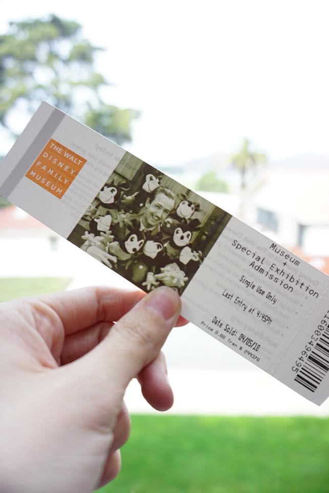 A ticket from the Walt Disney Family Museum San Francisco