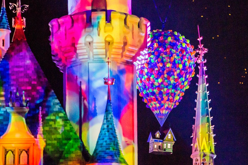 Up balloon projection during Pixar Fest fireworks