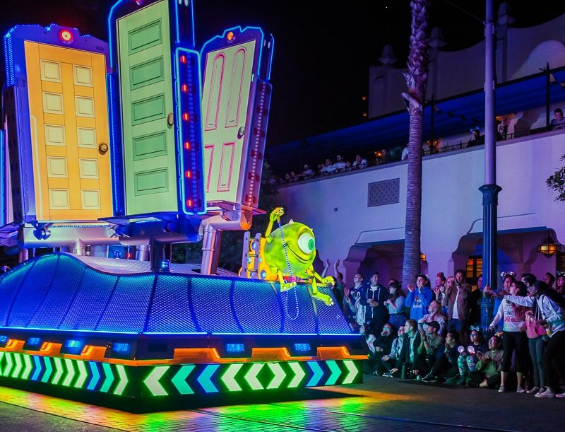 Monsters Inc float in Paint the Night Parade during Pixar Fest