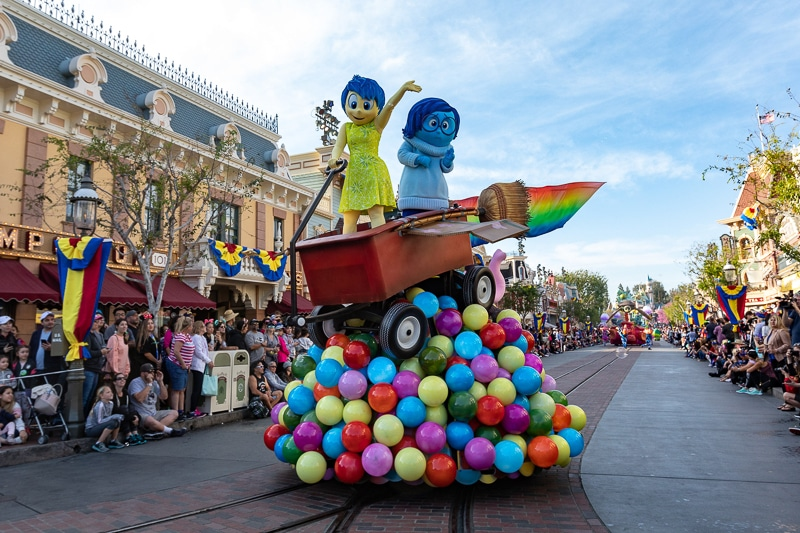 Inside Out float from the Pixar Play Parade during Disneyland's Pixar Fest