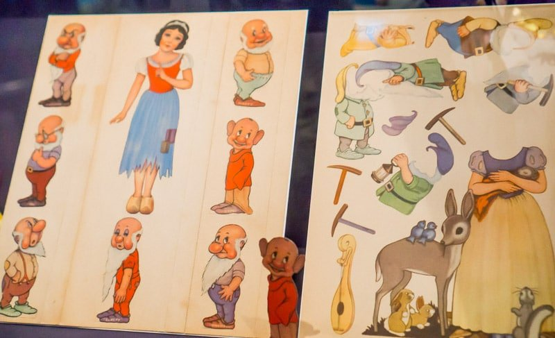 Snow White paper dolls in the Walt Disney Family Musuem
