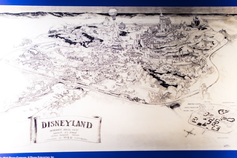 A drawing of Disneyland at the Walt Disney Family Museum