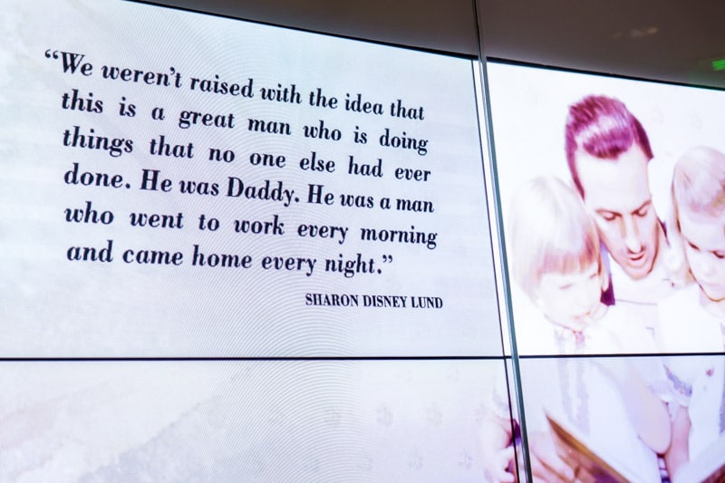 A quote about Walt Disney in the Disney Family Museum