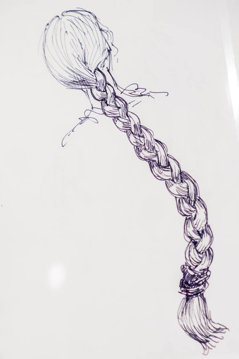 Rapunzel hair sketch in the Walt Disney Family Museum