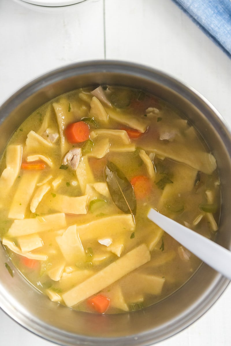 Bowl of chicken noodle soup with egg noodles