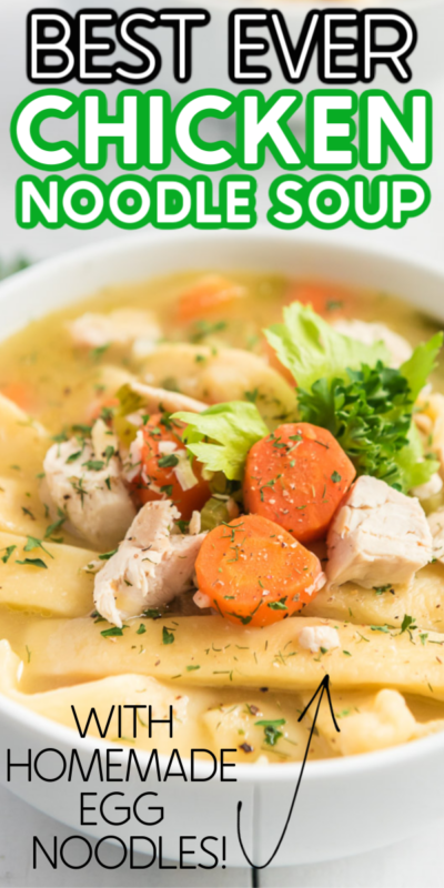 The best homemade chicken noodle soup with egg noodles! Quick and easy to make and a dinner everyone will love! Just like your grandma used to make with homemade egg noodles!