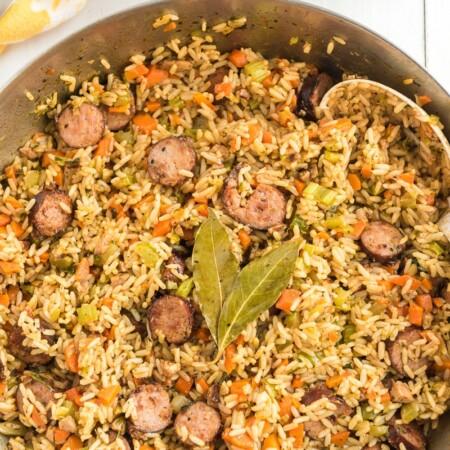 Finished sausage jambalaya