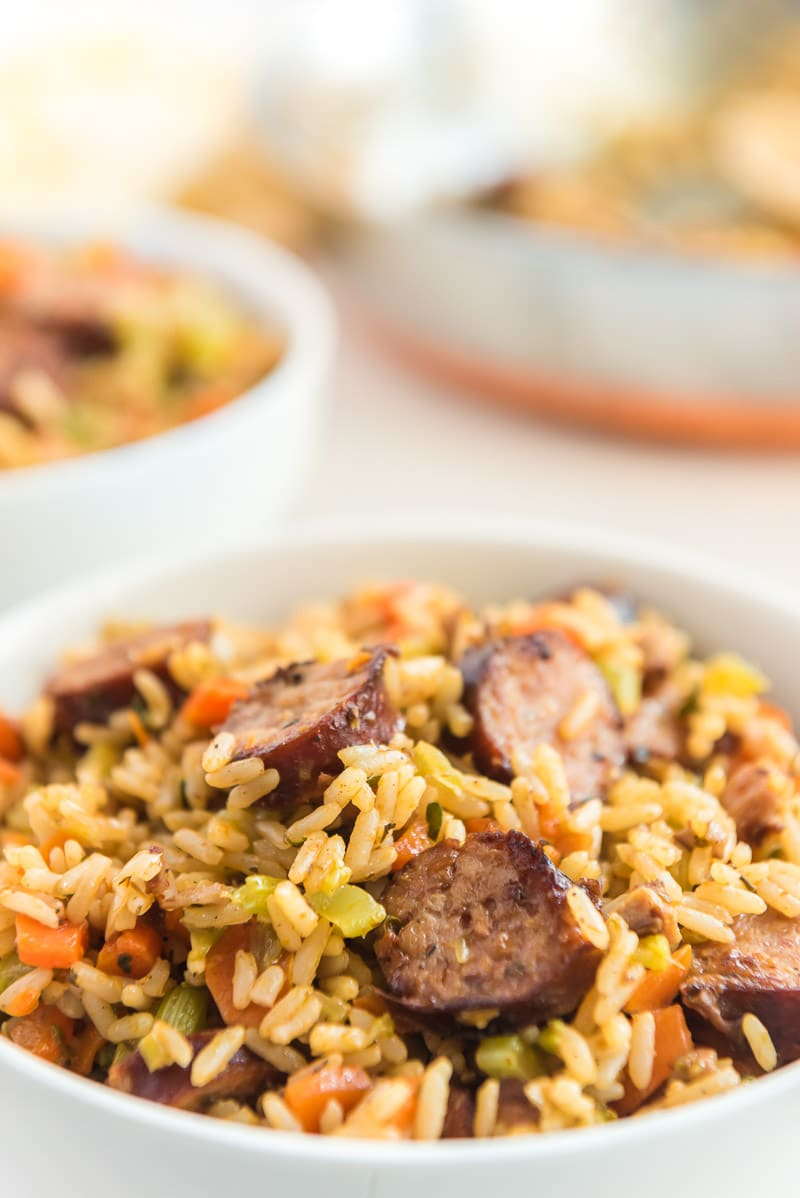 Bowl of sausage jambalaya