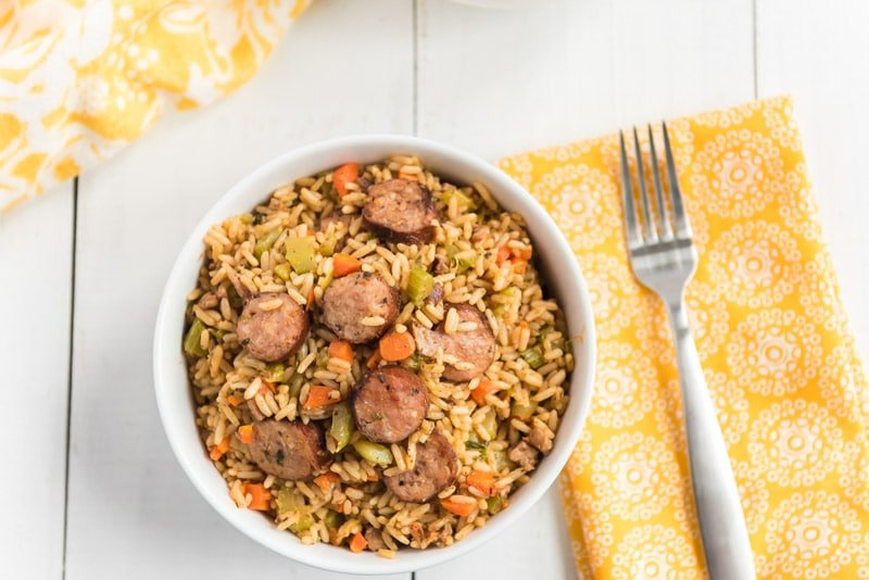 Bowl of smoked sausage jambalaya