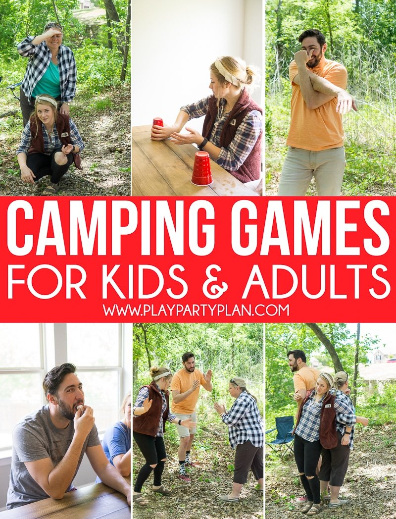 Fun camp games for adults, for teens, and even for kids! Great games to play indoor, outdoor, or around the nighttime campfires! And best of all, many of these can be played with no equipment at all! They're perfect for summer camp, family reunions, or group parties.