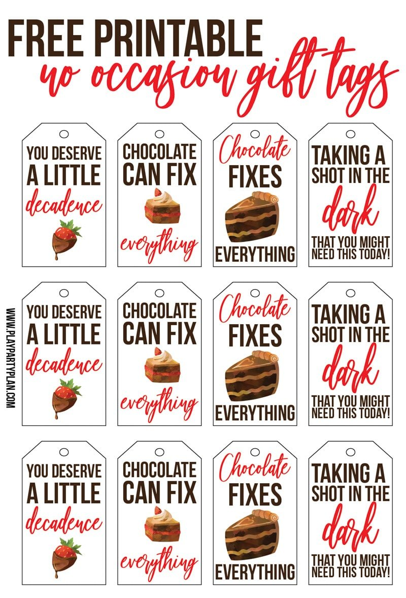 Free printable gift tags inspired by Culver's Flavor of the Day - dark chocolate!