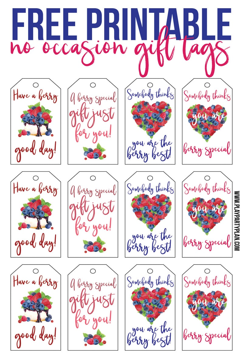 Free printable gift tags inspired by Culver's Flavor of the Day - blackberry cobbler.