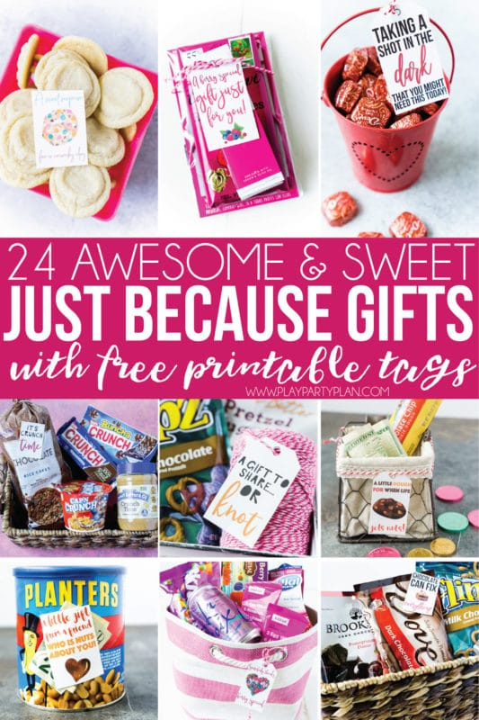 24 awesome gift basket ideas for women, for men, and even for kids! Free printable gift tags to help you DIY these themed gift ideas!