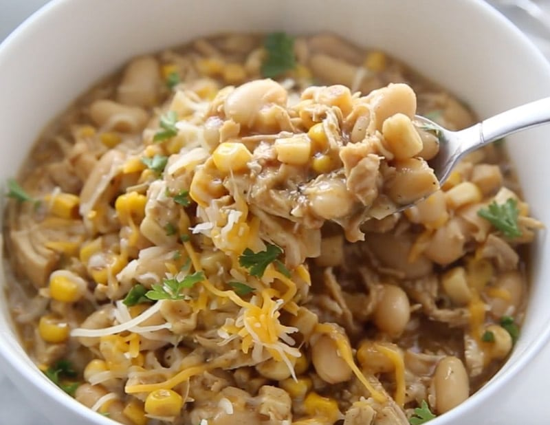 A spoonful of the best white chicken chili