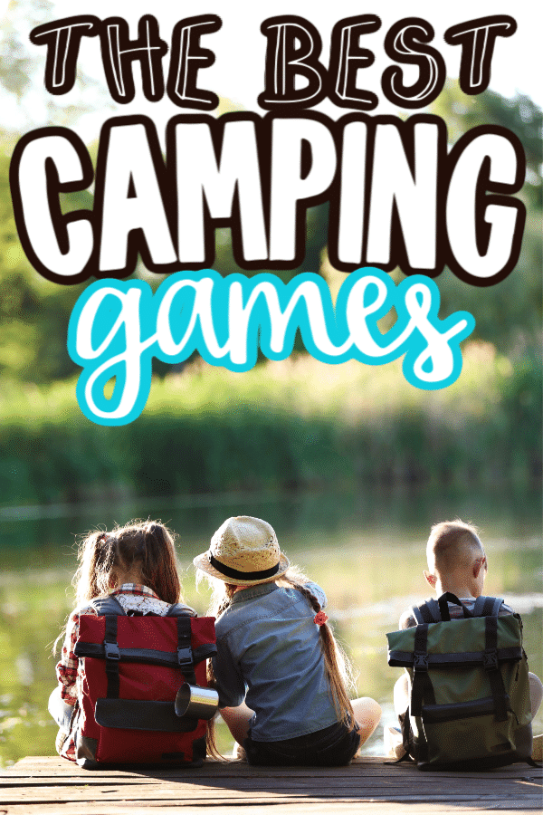 Kids camping with text for Pinterest