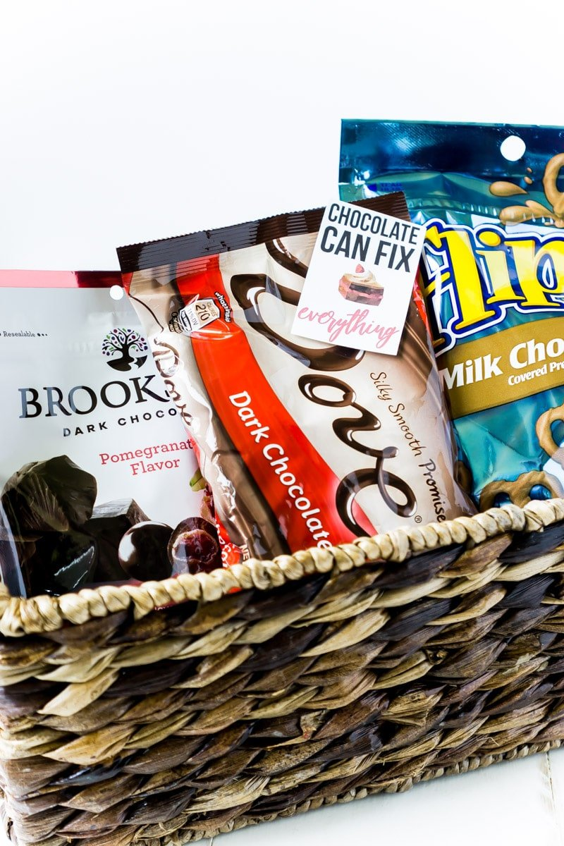 A chocolate gift basket for women with free printable gift tags